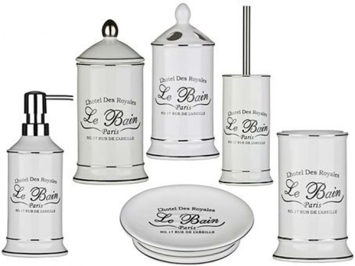 Le bain ceramic white bathroom accessories shabby for Ceramic bathroom bin